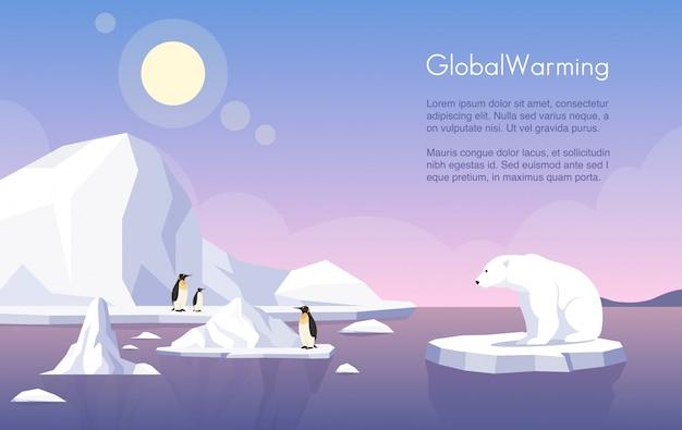 Szablon transparent globalnego ocieplenia. biegun północny, topniejące lodowce, pingwiny i niedźwiedź polarny na krze płaskiej ilustracji z miejsca na tekst. zmiany klimatu, wzrost poziomu mórz, zniszczenia przyrody.