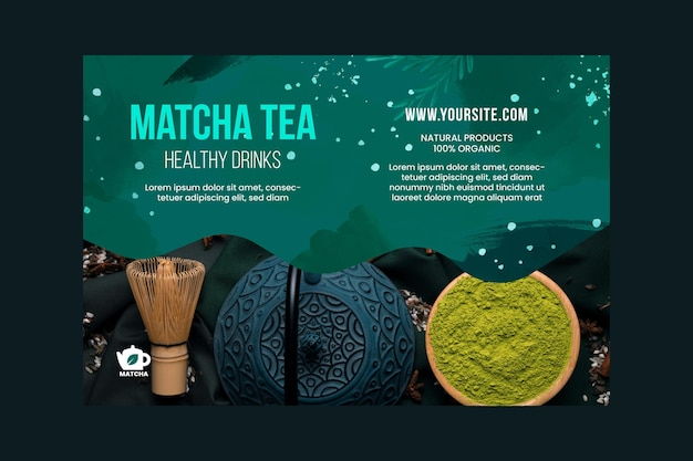 Szablon transparent herbaty matcha ze zdjęciem