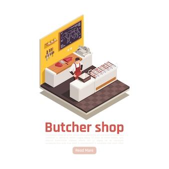Szablon transparent izometryczny sklep mięsny