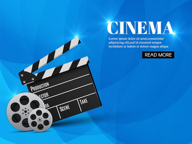 Szablon Transparent Kino Z Clapboard Premium Wektorów