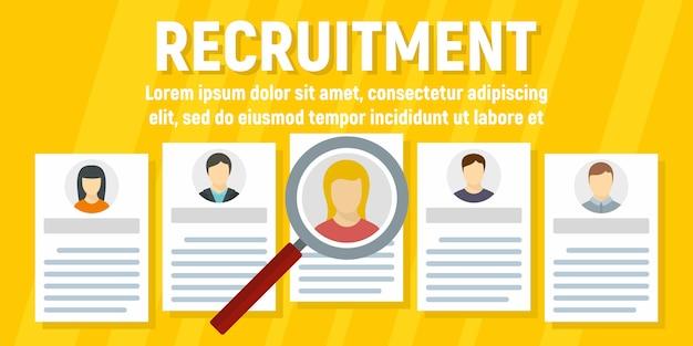 Szablon transparent koncepcja rekrutacji ludzi, płaski