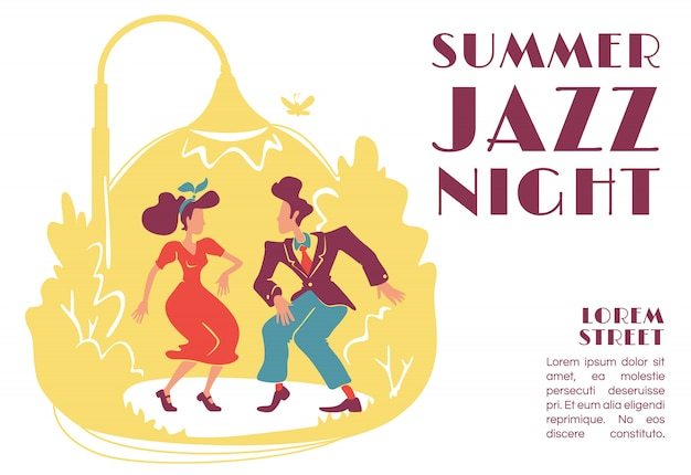 Szablon transparent letniej nocy jazzowej. impreza plenerowa w stylu retro. dyskoteka rock and roll z lat 50. broszura, plakat projekt koncepcyjny z postaciami z kreskówek. pozioma ulotka, ulotka z miejscem na tekst