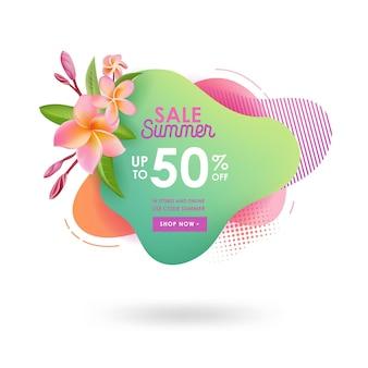 Szablon transparent letniej wyprzedaży. płynne abstrakcyjne geometryczne bańki z kwiatami plumeria, tropikalny tło i tło, znaczek promocyjny dla oferty sezonowej, promocji, reklamy. ilustracja wektorowa