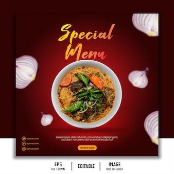 Szablon transparent mediów społecznościowych post historia karmić makaron w restauracji