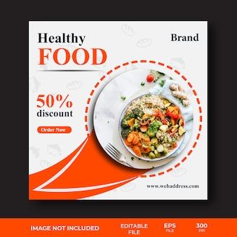 Szablon transparent mediów społecznościowych zdrowej żywności