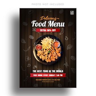 Szablon transparent menu pyszne jedzenie