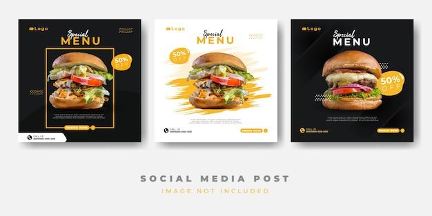 Szablon transparent menu żywności w mediach społecznościowych
