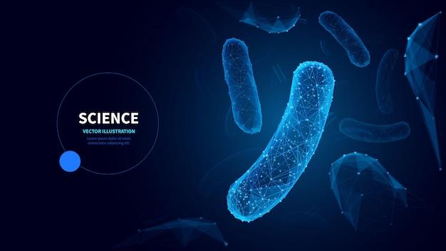 Szablon transparent mikrobiologia low poly wireframe. futurystyczna nauka, wielokątny projekt plakatu badań biologicznych z ilustracją bakterii. mikroskopijne zarazki grafika 3d mesh z połączonymi kropkami