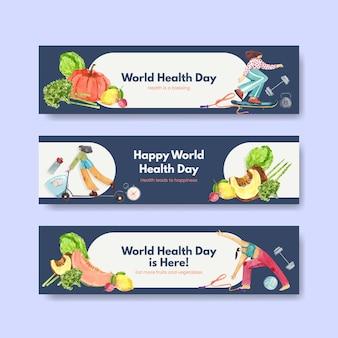 Szablon transparent na światowy dzień zdrowia w stylu przypominającym akwarele