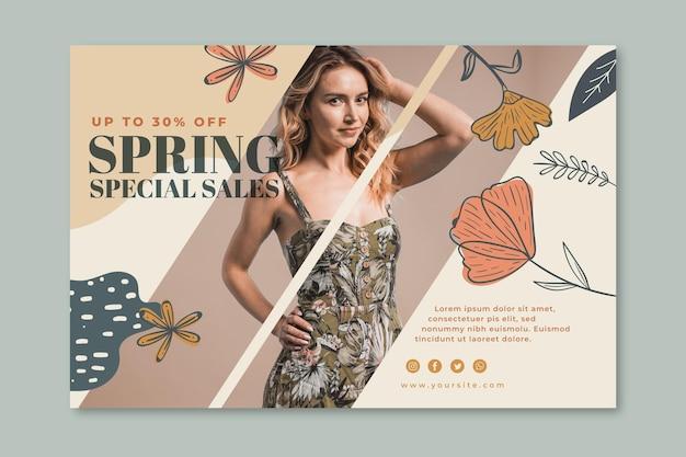 Szablon transparent na wiosenną wyprzedaż mody