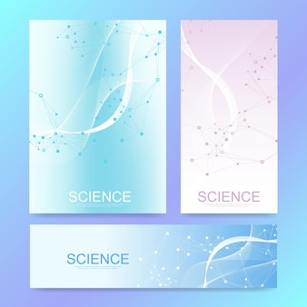 Szablon transparent nauki z kolorowymi cząsteczkami na nowoczesnym tle.