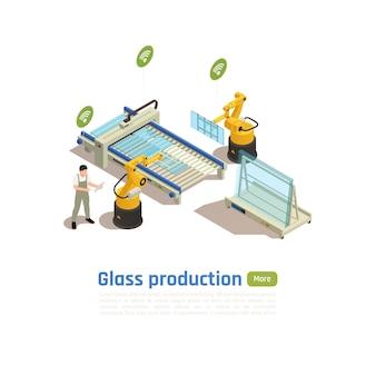 Szablon transparent nowoczesnej produkcji szkła