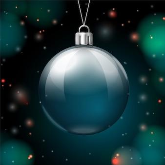 Szablon transparent nowy rok wektor z piłką świecącą w ciemności.