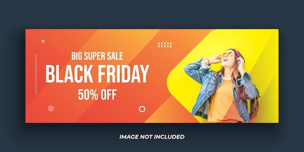 Szablon transparent okładki facebooka w czarny piątek moda