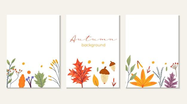 Szablon transparent ozdobiony modnymi elementami jesień i tekst. spadające liście jagód i grzybów. notatnik zestaw do kart sezonowych. ilustracja wektorowa płaskie naturalne dla reklamy, promocji.