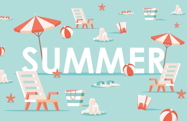Szablon transparent płaski słowo lato. letni wypoczynek, rekreacja sezonowa, koncepcja plakatu na plaży.