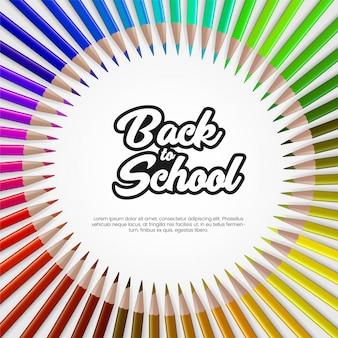 Szablon transparent powrót do szkoły z realistycznym kolorowym ołówkiem