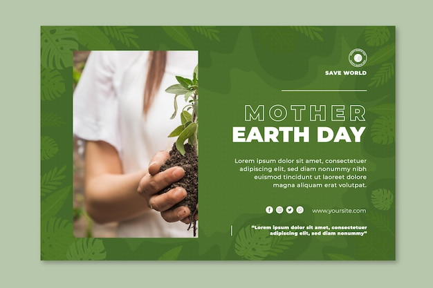 Szablon Transparent Poziomy Dzień Matki Ziemi Darmowych Wektorów