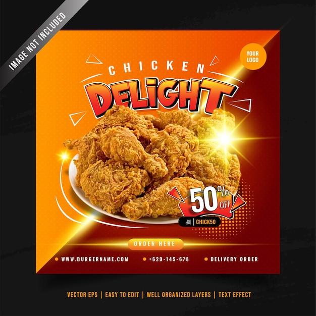 Szablon transparent promocji menu smażonego kurczaka w mediach społecznościowych