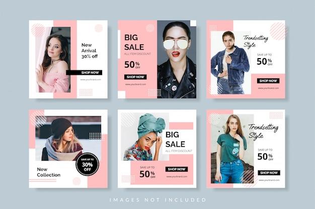 Szablon transparent promocji sprzedaży dla postów internetowych i społecznościowych
