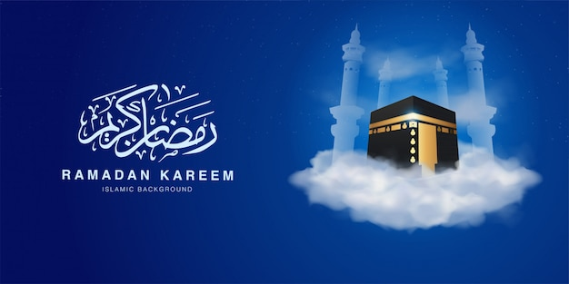 Szablon transparent ramadan kareem z 3d realistic ka'bah ponad chmurą