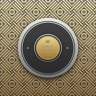 Szablon transparent rundy tekst na złotym tle metalicznej z bezproblemową geometryczny wzór.