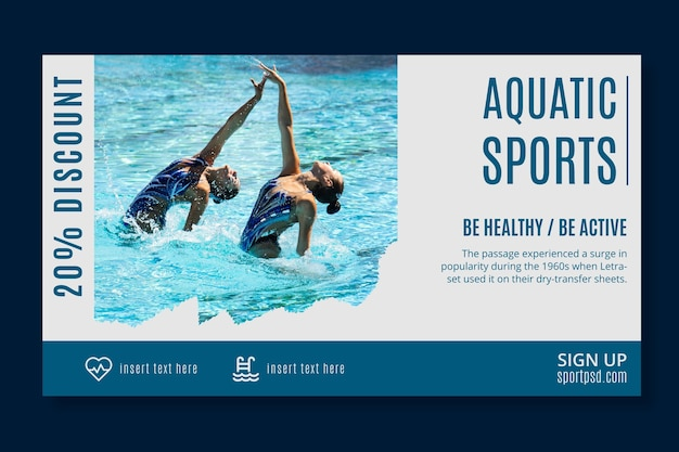Szablon transparent sportów wodnych