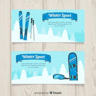 Szablon transparent sportów zimowych