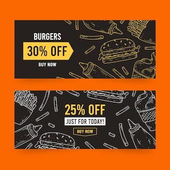 Szablon transparent sprzedaż hamburgerów