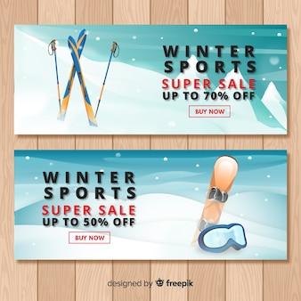 Szablon transparent sprzedaż sportów zimowych
