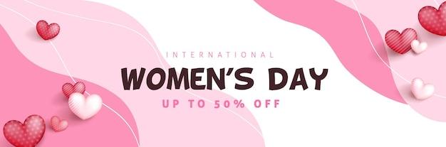 Szablon transparent sprzedaż z okazji międzynarodowego dnia kobiet.