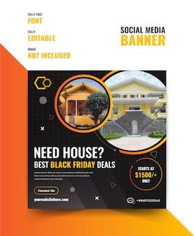 Szablon transparent sprzedaży domu w czarny piątek w mediach społecznościowych.