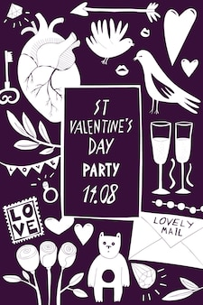 Szablon transparent st valentine day. ręcznie rysowane ilustracje na ciemnym tle. z symbolami walentynki. może służyć jako ulotka, okładka lub zaproszenie