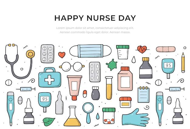 Szablon transparent strony szczęśliwy dzień pielęgniarki w kolorze. pojęcie medyczne i opieki zdrowotnej. doodle styl szkicu. projekt kompozycji.
