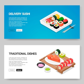 Szablon transparent sushi i azjatyckie jedzenie. japońskie azjatyckie jedzenie na zamówienie online. bułki, futomaki sushi, tuńczyk i wasabi na tradycyjnych chińskich talerzach z patyczkami.