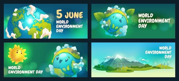 Szablon transparent światowego dnia środowiska kreskówka