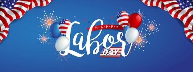 Szablon transparent święto pracy z balonami z flagą amerykańską i kolorowymi fajerwerkami.