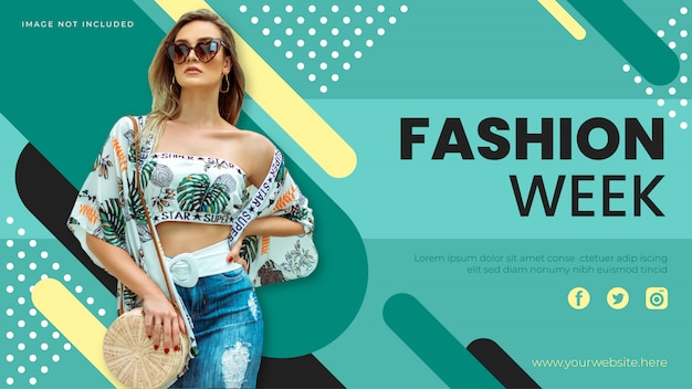 Szablon transparent tydzień mody. baner sprzedaży promocyjnej na stronę internetową, ulotkę i plakat