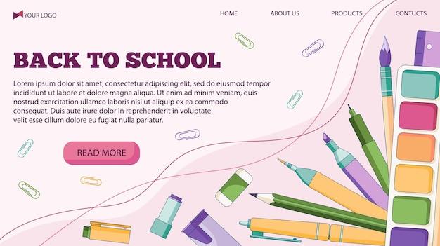 Szablon transparent wektor ilustracja na powrót do szkoły z długopisami i innymi przyborami szkolnymi