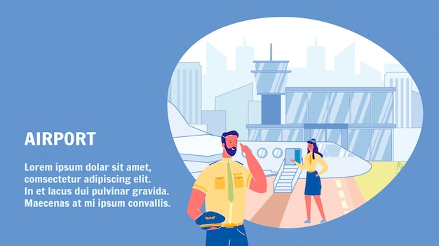 Szablon transparent wektor lotnisko wektor z miejsca na tekst