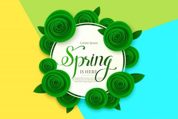 Szablon transparent wiosna sprzedaż z kwiatem papieru