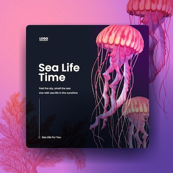 Szablon transparent z akwarela ilustracja koncepcja życia morskiego