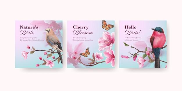 Szablon transparent z akwarela ilustracja kwiat ptak koncepcja projektowania