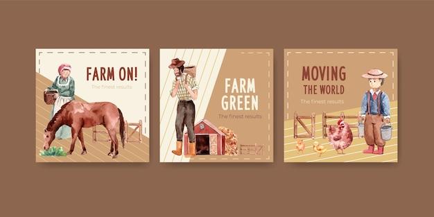 Szablon transparent z ilustracja akwarela projekt ekologicznej farmy.