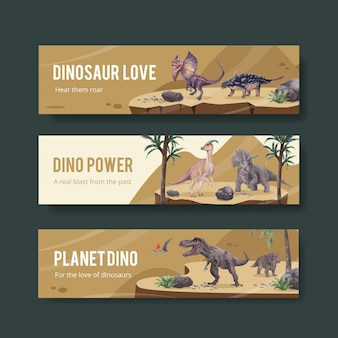 Szablon transparent z koncepcją dinozaura, styl przypominający akwarele