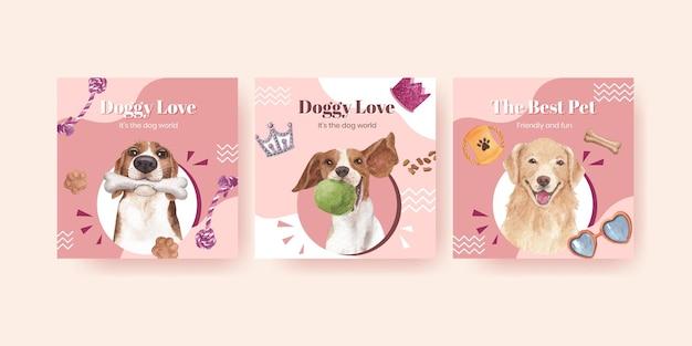 Szablon transparent z koncepcją ładny pies, styl przypominający akwarele