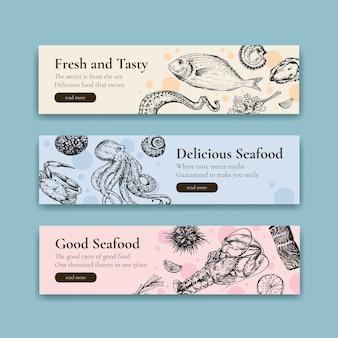 Szablon transparent z koncepcją owoców morza dla ilustracji reklamy i broszury