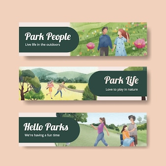 Szablon transparent z koncepcją parku i rodziny do reklamowania ilustracji akwareli
