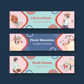 Szablon transparent z koncepcją podróży piknikowych do reklamy i marketingu akwareli