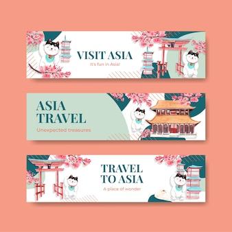 Szablon transparent z koncepcją podróży po azji do reklamy i marketingu ilustracji wektorowych akwarela